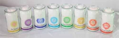 Set: Herzlicht Chakra-Kerzen weiß + Raumreinigung 13 x 6 cm (8 Stück)
