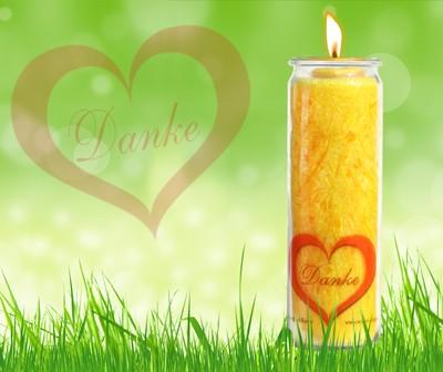 Herzlicht-Kerze Dankbarkeit gelb 20 x 6 cm inkl. Büchlein