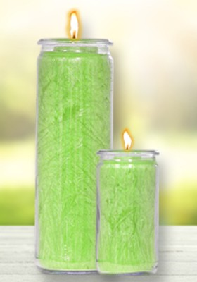 Herzlicht-Kerze Apfelgrün 20 x 6 cm