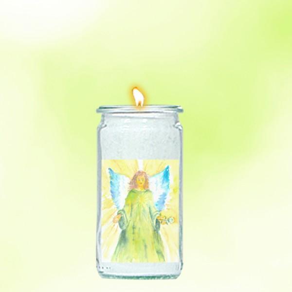 Herzlicht-Kerze -Erzengel Raphael- 13 x 6 cm
