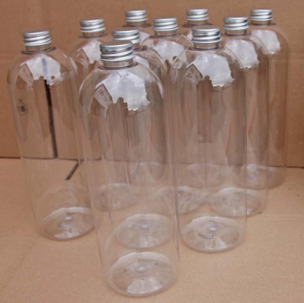 PET-Flasche 1Liter klar (10 Stück) Mit Deckel silberfarben
