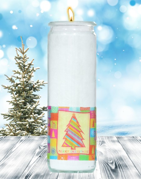Herzlicht-Kerze -Merry Christmas- Motiv 1 im Glas 20x6 cm