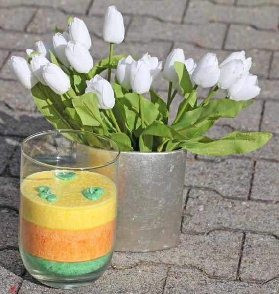 Herzlicht-Kerze Osterlicht dreifarbig - grün,orange und gelb