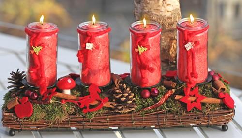 Vier Advents-Herzlicht-Kerzen