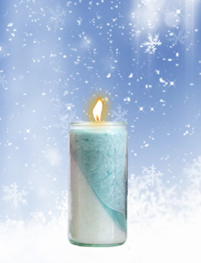 Herzlicht-Winterkerze weiß/blau 13 x 6 cm
