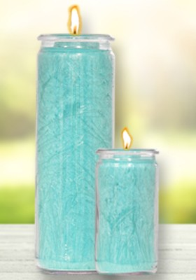 Herzlicht-Kerze Türkis 13 x 6 cm