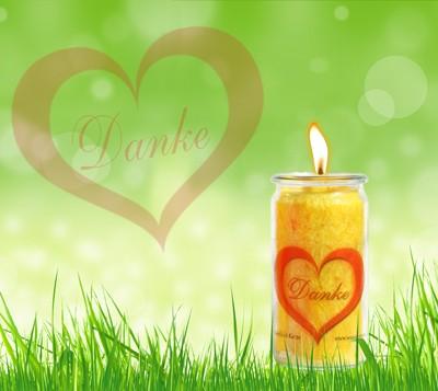 Herzlicht-Kerze Dankbarkeit gelb 13 x 6 cm inkl. Büchlein