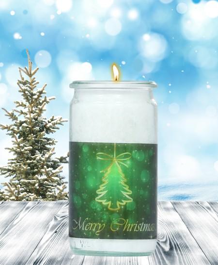 Herzlicht-Kerze -Merry Christmas- Motiv 2 im Glas 13 x 6 cm