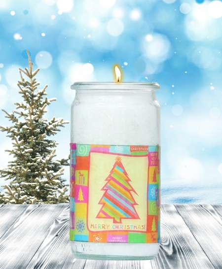 Herzlicht-Kerze -Merry Christmas- Motiv 1 im Glas 13 x 6 cm