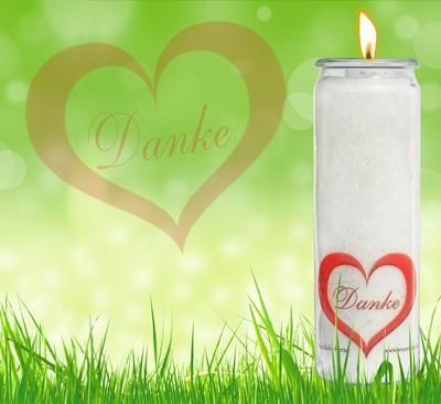 Herzlicht Danke-Kerze weiß 20 x 6 cm
