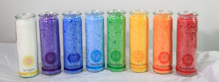 Set: Herzlicht Chakra-Kerzen farbig + Raumreinigung 20 x 6 cm (8 Stück)