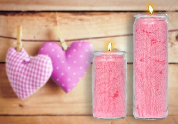Herzlicht Liebes-Kerze rosa 13 x 6 cm