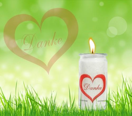 Herzlicht Danke-Kerze weiß 13 x 6 cm