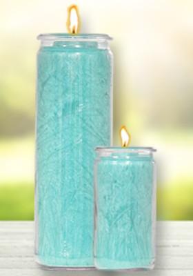 Herzlicht-Kerze Türkis 20 x 6 cm