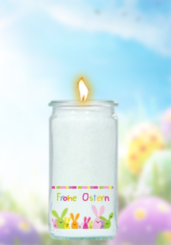 Herzlicht-Osterkerze im Glas 13x6 cm - Motiv 1