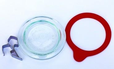 Glasdeckel mit Einkochring und zwei Einweck-Klammern