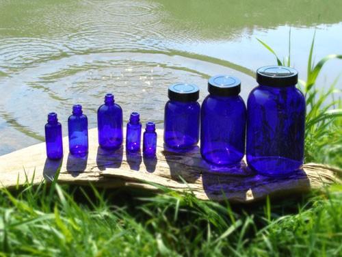 Blauglas-Fläschchen 50 ml (10er Pack) ohne Deckel