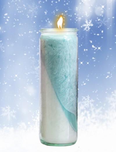 Herzlicht-Winterkerze weiß/blau 20 x 6 cm