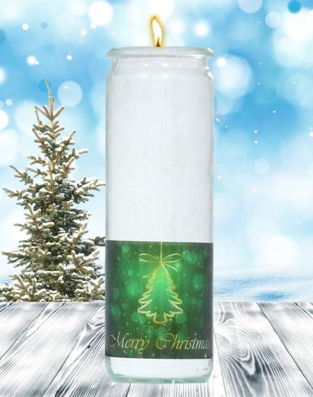Herzlicht-Kerze -Merry Christmas- Motiv 2 im Glas 20x6 cm
