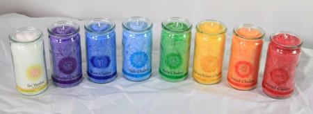 Set: Herzlicht Chakra-Kerzen farbig + Raumreinigung 13 x 6 cm (8 Stück)