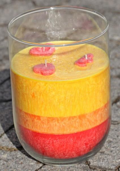 """Herzlicht-Kerze """"Kaminfeuer Stimmung"""" ca. 2 kg Stearin 20 x 14 cm mit über 200 Std. Brenndauer"""